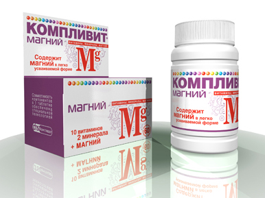 БАД Компливит магний с магния лактатом, одна таблетка содержит 50 мг магния