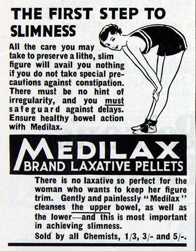 Реклама 1935 года: Medilax (слабительное фенолфталеин, синоним Пурген) - первый шаг к стройности