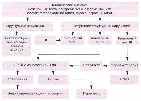 Рис. 2. Алгоритм диагностического поиска и ведения пациентов с предполагаемым функциональным билиарным расстройством СО 1,11 и III типов