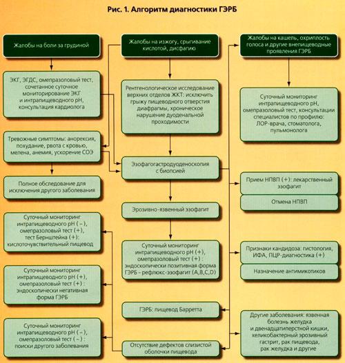 Алгоритм диагностики и лечения гастроэзофагеальной рефлюксной болезни.